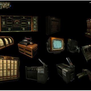 <i>Modelos de varias computadores y dispositivos encontrados a través de la Guarida de Minerva, diseñados por Brandon Pham.</i>