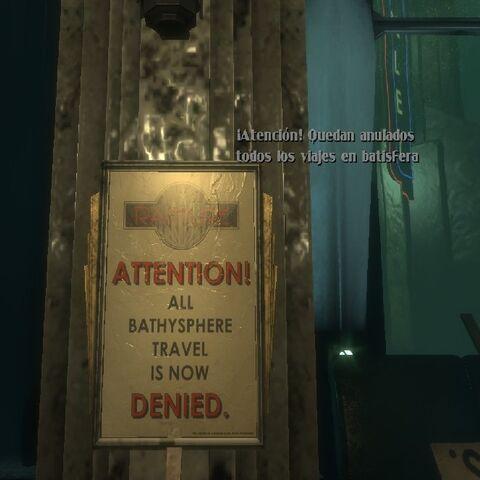 Cartel que avisa de la prohibición del uso de batisderas.