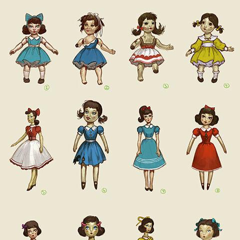 <i>Diseños para la apariencia de la muñeca de Sally, Sarah.</i>