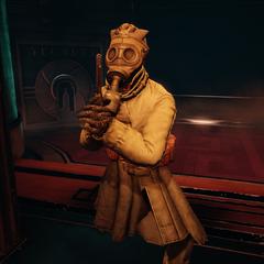 <i>Pistolero con máscara de gas.</i>