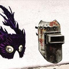<i>Bocetos conceptuales de máscaras de splicers.</i>