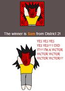 Sam's Victory Pose