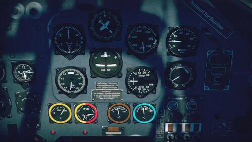 Ju87D cokpit up