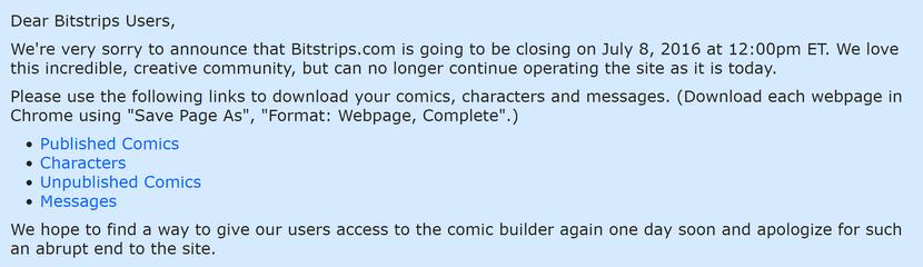 Dear Bitstrip Users