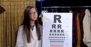 Eye Doctor Wong and her weird eye chart