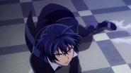Rentaro regains his balance after Shougen's attack