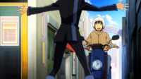 Rentaro stops a man for his scooter