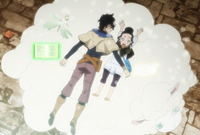 Charmy catching fainted Yuno