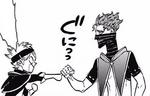 Zora squeezes Asta's finger