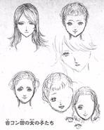 Rebecca, Erika, Helene initial concept heads