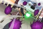 Yuno evading bullets of ashes