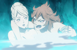 Charlotte and Mereoleona in the hot spring