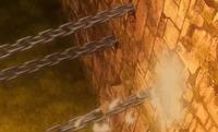 Formação Mágica da Corrente de Ferro Constritora saindo da parede