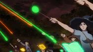 Bruxas lançando balas mágicas em soldados diamond