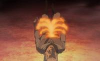 Formação de escravos das chamas sendo criada com fogo preexistente