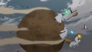 Golem de segurança atira pedra