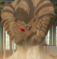 Asta restrained by a sand sentry
