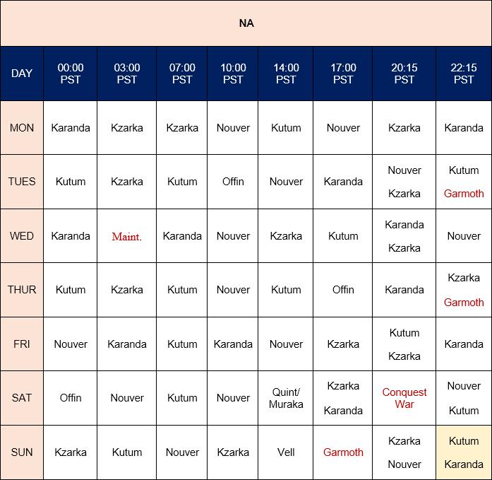 NA world boss timetable