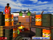 Area 51 Arcade screenshot shoot the barrels