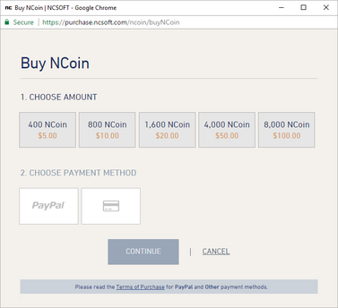NCoin Purchase Window