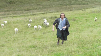 Hal being chased by goats in Scotland