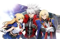 Noel Vermillion, Ragna the Bloodedge, and Jin Kisaragi(Blazblue 10th Anniversity illustration)