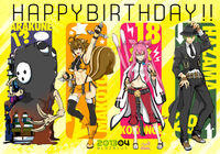 Arakune, Makoto Nanaya, Kokonoe, and Hazama (Birthday Illustration, 2013)