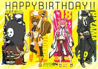 Arakune, Makoto Nanaya, Kokonoe, and Hazama (Birthday Illustration, 2013)