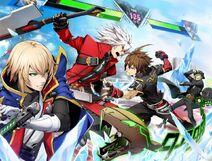 Cross Tag Battle Rakuen Books poster of Ragna, Jin, Naoto and Hazama