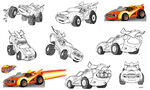Blaze race car sketches