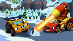 S3E3 Blaze melts the ice around a race car's tire