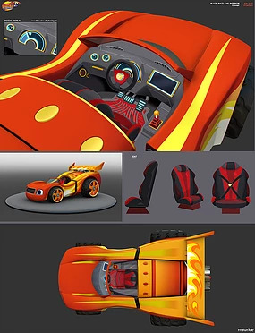 Image Blaze Race Car Interior Art Jpg Blaze And The Monster