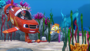S4E6 Blaze about to brush the yellow fish's teeth