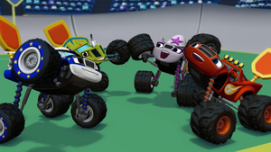 S1E11 Monster Machines raise their tires in celebration