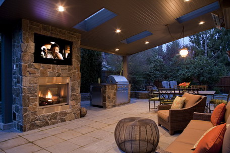 Image - Classic-Fireplace-and-Brown-Sofa-Furniture-Sets-in-Outdoor ...
