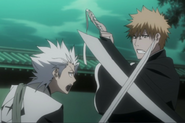 Hitsugaya intentando detener a Ichigo
