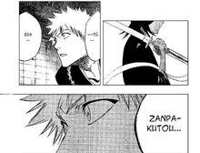 Ichigo se sorprende al ver la zampakuto de rukia
