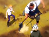 O18 Kisuke patrzy jak Tessai odcina łańcuch przeznaczenia Ichigo