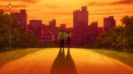 O314 Ken i Haruko odchodzą w kierunku zachodzącego słońca