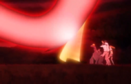 Orihime protects them from the Menos' cero