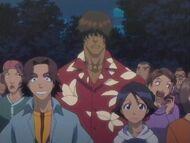 Keigo, Mizuiro y Chad viendo el show de Don Kanonji