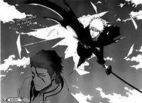 Ichigo ataca a Aizen (Manga)