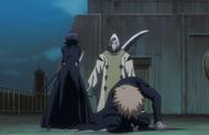 Rukia protects Ichigo from Inaba