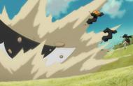 Reigai Komamura knocks his opponents away