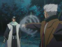 Kariya attaquant Byakuya avec son élement vent