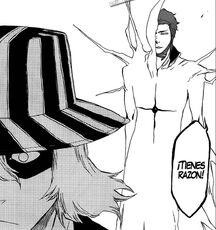 Aizen aparece detras de Urahara