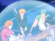 O25 Ichigo, Orihime, Uryu, Sado, Yoruichi i Ganju przemieszczają się do celu