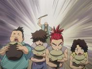 O32 Kosaburo, Fujimaru, Renji i Mameji uciekają przed właścicielem straganu