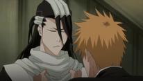 Ichigo hablando con Byakuya