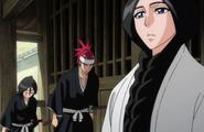 Renj and Rukia bow to Unohana